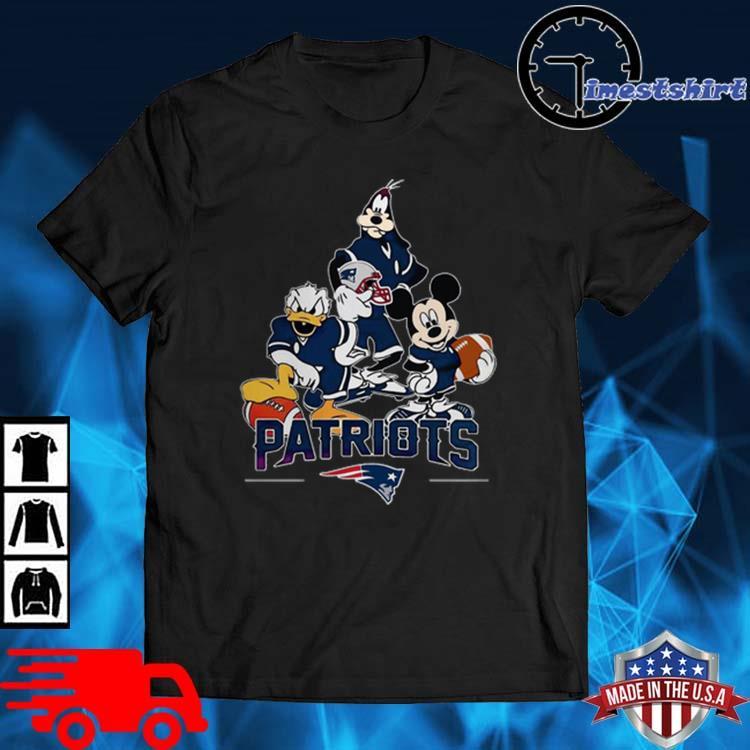 Disney characters mashup new england Patriots shirt