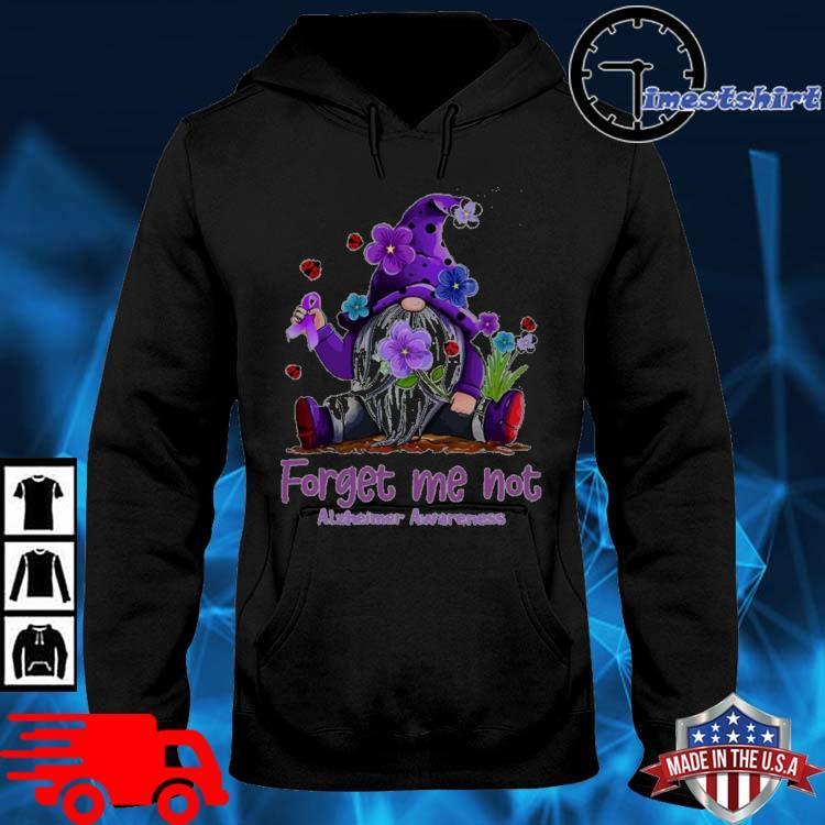Gnome forget Me not alzheimer's awareness flower hoodie den