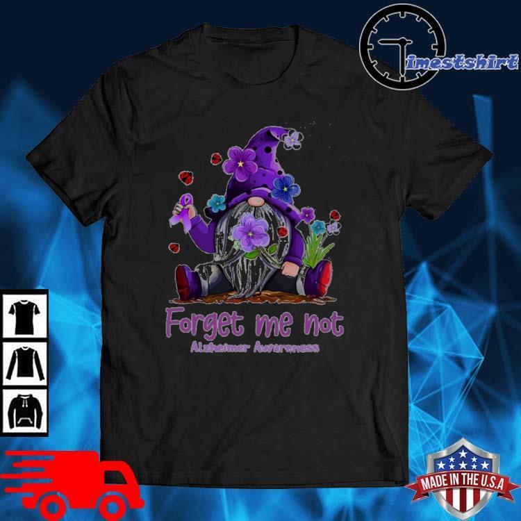 Gnome forget Me not alzheimer's awareness flower shirt