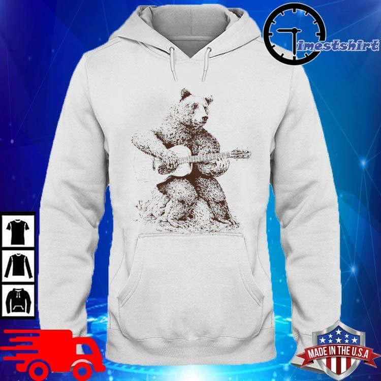 Bear Playing Guitar Shirt hoodie trang